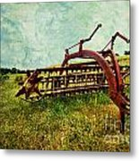Farm Equipment In A Field Metal Print by Amy Cicconi