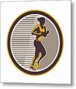Female Marathon Runner Side View Retro Metal Print by Aloysius Patrimonio