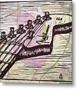 Fender Strat On Map Metal Print by William Cauthern