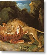 Fight Between A Lion And A Tiger, 1797 Metal Print by James Ward
