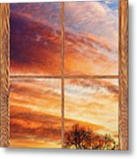 First Dawn Barn Wood Picture Window Frame View Metal Print by James BO  Insogna