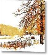 First Snow Last Leaves Metal Print by Dorothy Walker