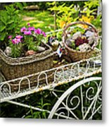 Flower Cart In Garden Metal Print by Elena Elisseeva
