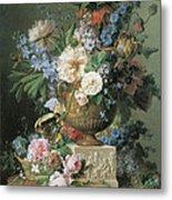 Flowers In An Alabaster Vase Metal Print