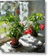 Flowers On The Window Metal Print by Yury Malkov