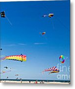 Flying Kites At St Augustine Beach Pier Metal Print