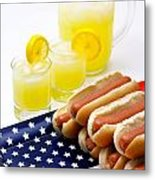 Fourth Of July Hot Dogs And Lemonade Metal Print by Amy Cicconi