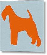 Fox Terrier Orange Metal Print by Naxart Studio