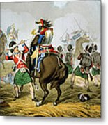 French Cuirassiers At The Battle Metal Print by John Augustus Atkinson