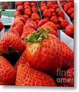 Fresh Strawberries Metal Print by Peggy Hughes
