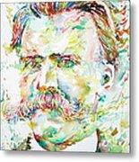 Friedrich Nietzsche Watercolor Portrait Metal Print