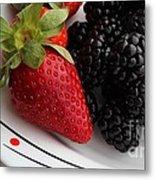 Fruit II - Strawberries - Blackberries Metal Print by Barbara Griffin
