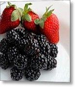 Fruit IIi - Strawberries - Blackberries Metal Print