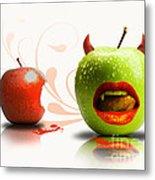 Funny Satirical Digital Image Of Red And Green Apples Strange Fruit Metal Print by Sassan Filsoof