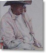 Gentleman Wearing The Dark Hat Metal Print by Sharon Sorrels