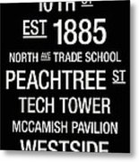Georgia Tech College Town Wall Art Metal Print by Replay Photos