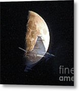 Ghostly Eurofighter Against A Full Moon Metal Print by Peter McHallam