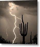 Giant Saguaro Cactus Lightning Strike Sepia  Metal Print