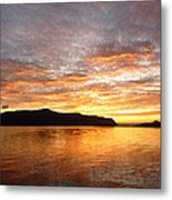 Gilded Fjord While The Sun Set Over Norwegian Mountains Metal Print
