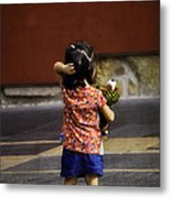Girl With Toy Dog Metal Print by Mary Machare