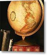 Globe And Books Metal Print