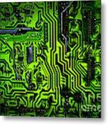 Glowing Green Circuit Board Metal Print