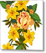 Golden Lily Flowers With Golden Rose Metal Print
