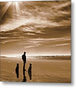 Golden Retriever Dogs End Of The Day Sepia Metal Print by Jennie Marie Schell