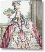 Grand Robe A La Francais, Engraved Metal Print by Claude Louis Desrais