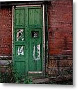 Green Door On Red Brick Wall Metal Print by Amy Cicconi