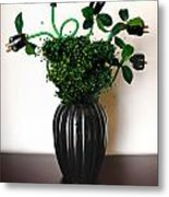 Green Energy Floral Arrangement Of Electrical Plugs Metal Print