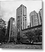 Green Space In Front Of High Rise Apartment Condo Blocks In The West End Between Robson And West Geo Metal Print by Joe Fox