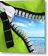 Green Zipper Metal Print