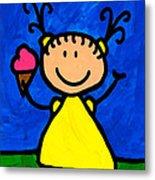 Happi Arte 3 - Little Girl Ice Cream Cone Art Metal Print by Sharon Cummings