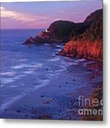 Heceta Head Lighthouse At Sunset Oregon Coast Metal Print