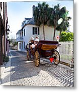 Horse And Buggy Ride St Augustine Metal Print