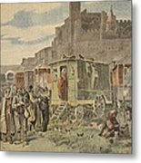 Hungarian Gypsies Outside Carcassonne Metal Print