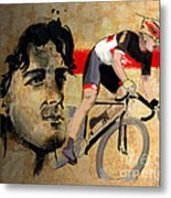 Ink Portrait Illustration Print Of Cycling Athlete Fabian Cancellara Metal Print by Sassan Filsoof