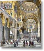 Interior Of San Marco Basilica, Looking Metal Print by Italian School