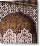 Islamic Geometric Design At The Shahi Mosque Metal Print by Murtaza Humayun Saeed