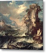 Italian Seascape With Rocks And Figures Metal Print by Marco Ricci