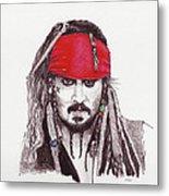 Johnny Depp As Jack Sparrow Metal Print by Martin Howard