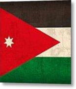 Jordan Flag Vintage Distressed Finish Metal Print