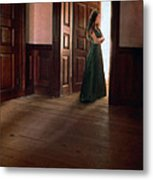 Lady In Green Gown In Doorway Metal Print by Jill Battaglia