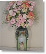 Lady On Vase With Pink Flowers Metal Print