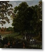 Landscape With A Courtly Procession Before Abtspoel Castle Metal Print by Esaias I van de Velde