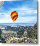 Lanscape Of Mountain And Balloon Metal Print
