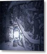 Lantern In Snow Metal Print by Joana Kruse