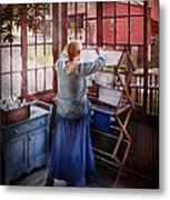 Laundry - Miss Lady Blue  Metal Print by Mike Savad