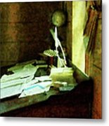 Lawyer - Desk With Quills And Papers Metal Print by Susan Savad
